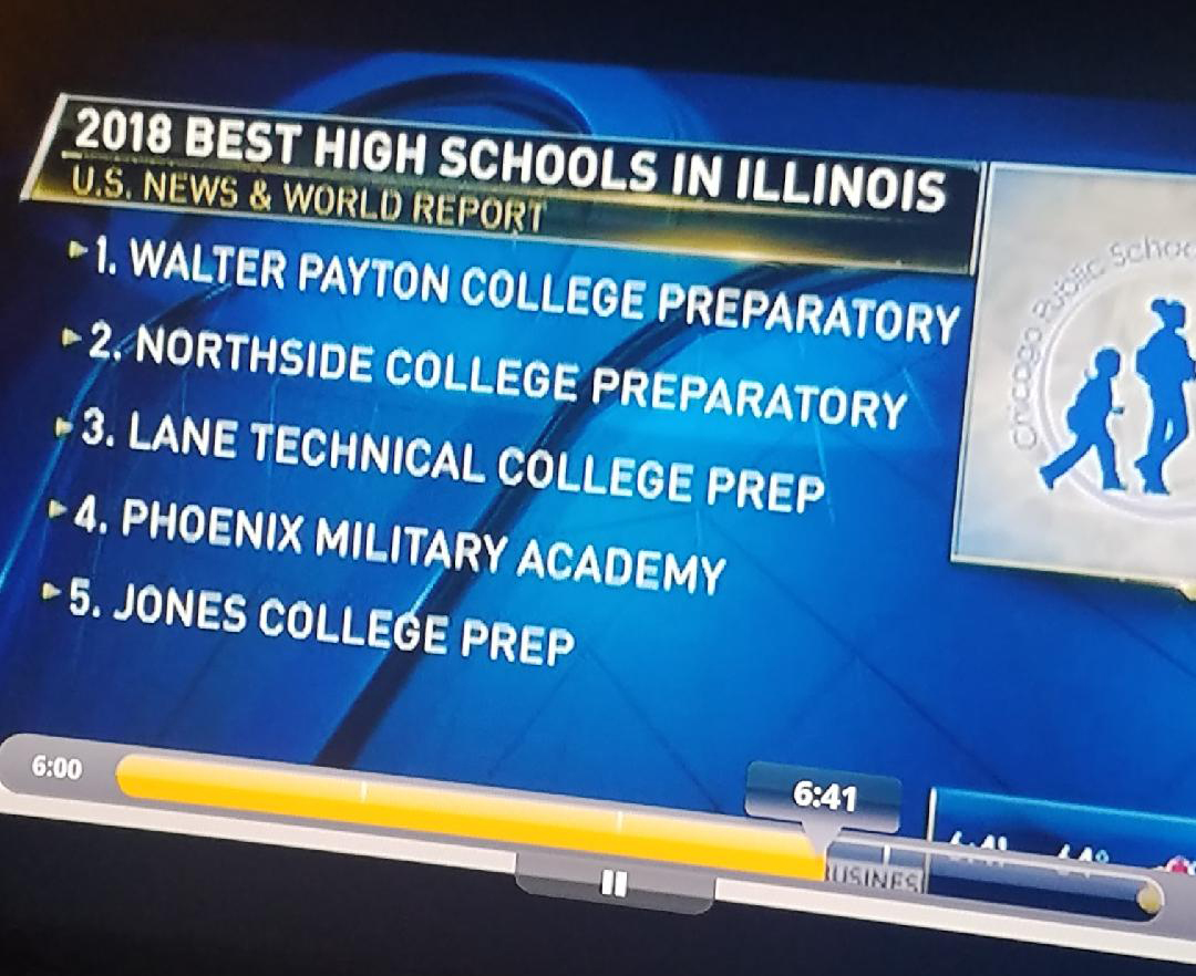 Get on our level!: Showed on a variety of news stations, you can see Phoenix and other alike schools that have been noticed as being the top 5 schools here in Illinois!